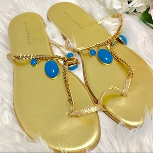 💛Banana Republic Blue Bejeweled Gold Sandals